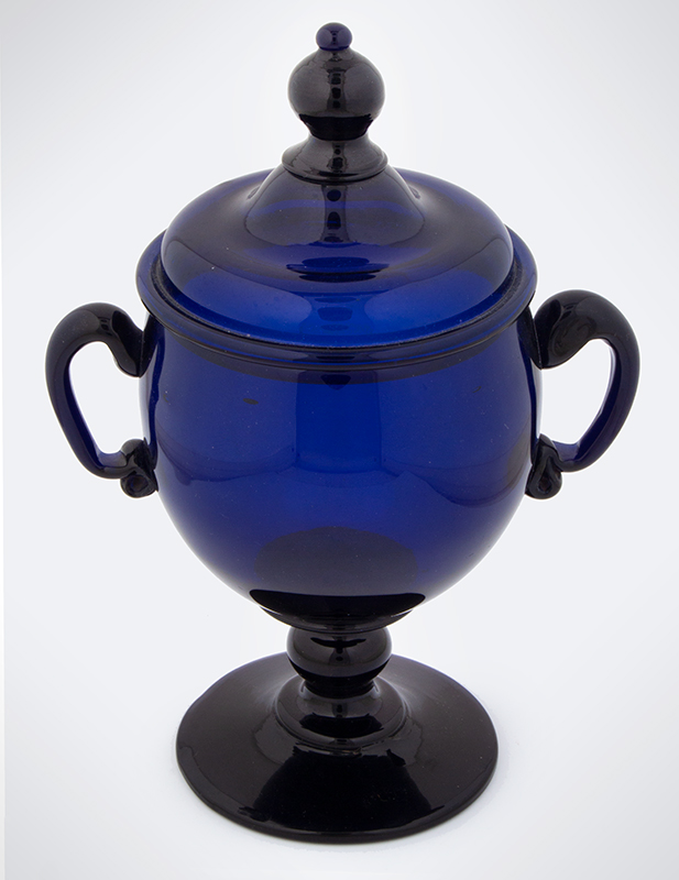 18th Century American Free Blown Handled & Footed Covered Sugar, Cobalt Unknown maker, circa 1780, entire view 2