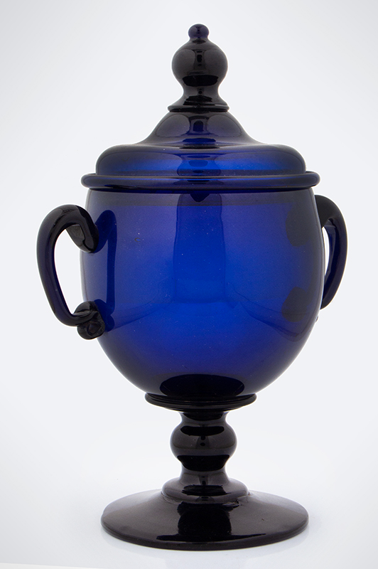 18th Century American Free Blown Handled & Footed Covered Sugar, Cobalt Unknown maker, circa 1780, entire view 3