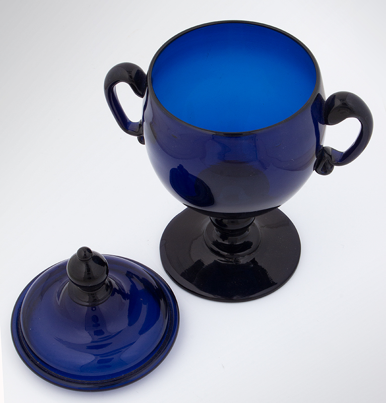 18th Century American Free Blown Handled & Footed Covered Sugar, Cobalt Unknown maker, circa 1780, entire view 4