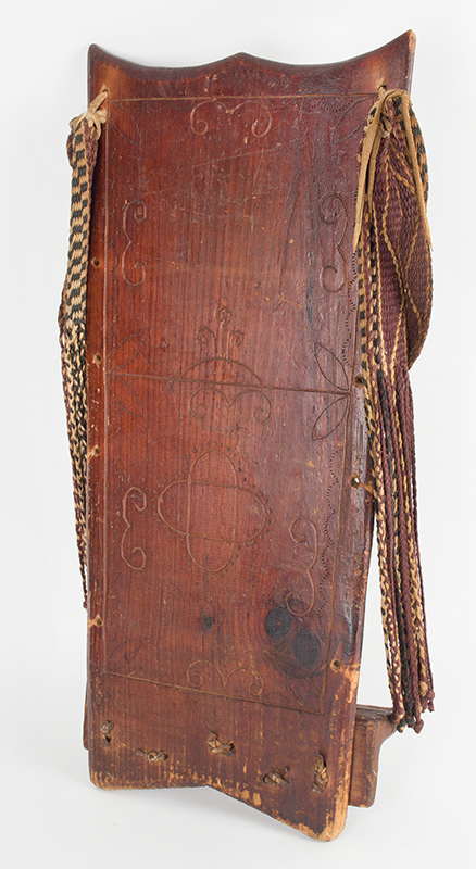 Cradle Board, Carved Wood, Native American Northeast, Late 19th Century