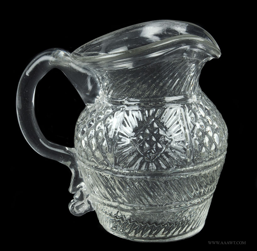Sandwich Geometric Three-Mold Blown Colorless Pitcher, GIII-31 Massachusetts, 1825-45, entire view