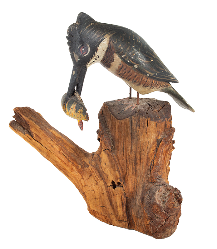 Elmer Crowell, (1862-1952), Carved and Painted King Fisher with Original Perch East Harwich, Massachusetts, entire view 1