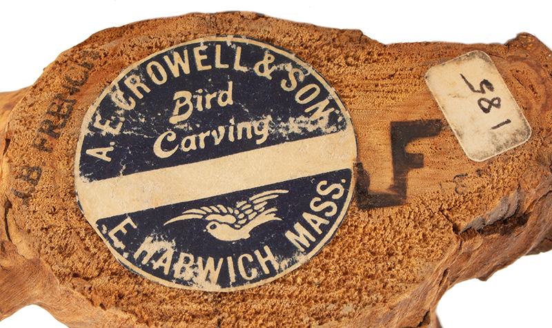 Elmer Crowell, (1862-1952), Carved and Painted King Fisher with Original Perch East Harwich, Massachusetts, carver detail
