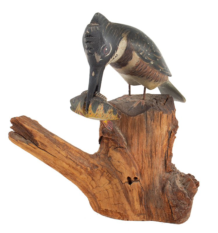Elmer Crowell, (1862-1952), Carved and Painted King Fisher with Original Perch East Harwich, Massachusetts, entire view 2