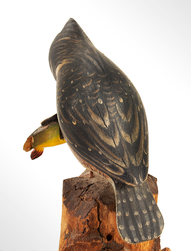 Elmer Crowell, (1862-1952), Carved and Painted King Fisher with Original Perch East Harwich, Massachusetts, entire view 5