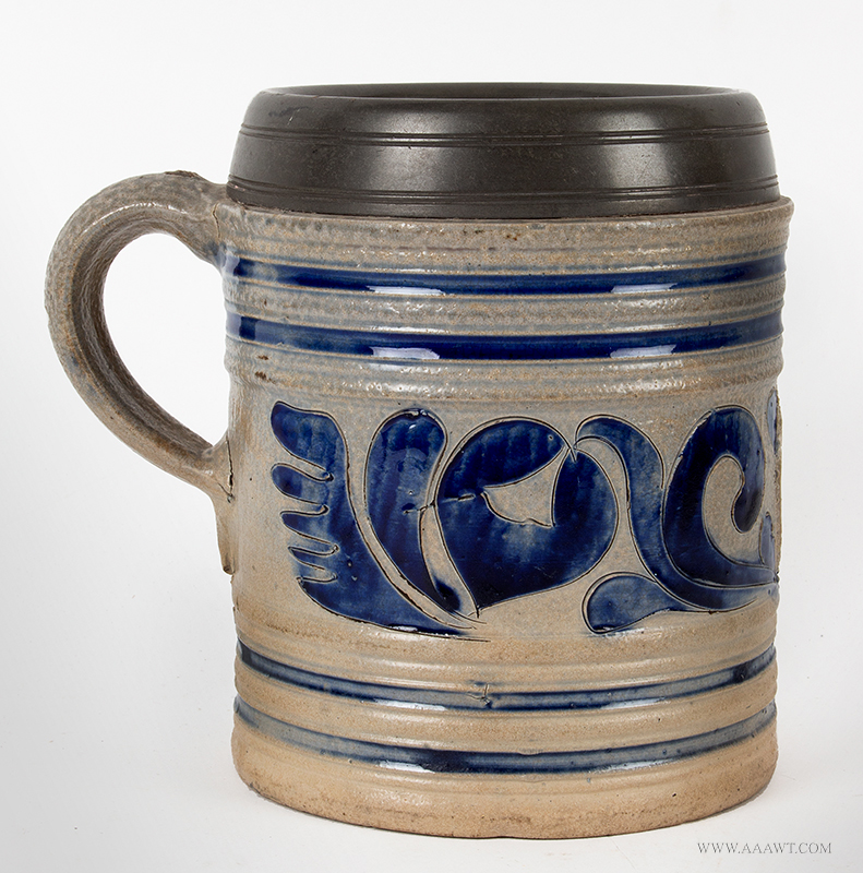 Stoneware GR Mug, Salt Glazed, Pewter Mounted Westerwald, Germany, circa 1780ish, entire view