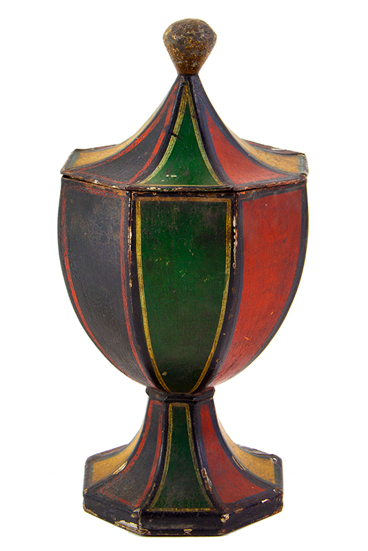 Antique Tole, Original Painted Tin, Standing Lidded Octagonal Urn Anonymous, 19th Century, entire view 1