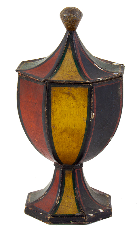 Antique Tole, Original Painted Tin, Standing Lidded Octagonal Urn Anonymous, 19th Century, entire view 2