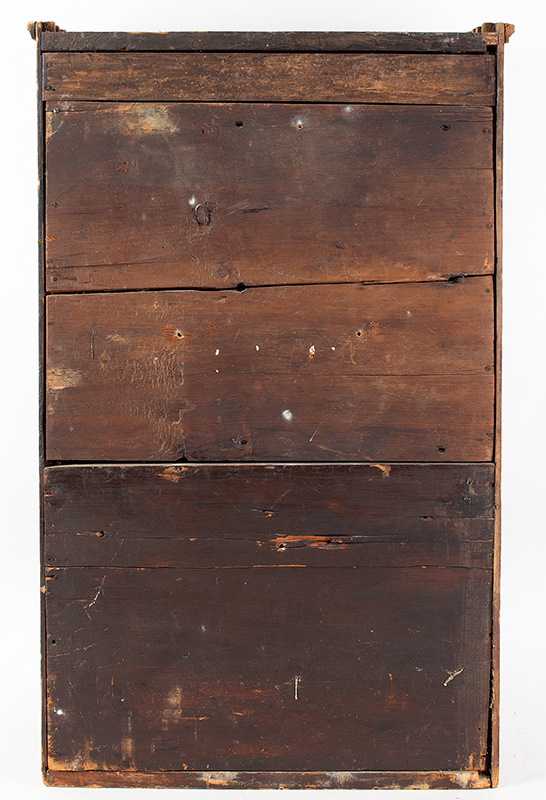 A Period Hanging Cupboard, Original Red Paint & Mirror Found in New York State 25-Years Ago, Circa 1800 White pine, back view
