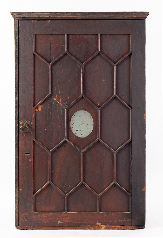 A Period Hanging Cupboard, Original Red Paint & Mirror Found in New York State 25-Years Ago, Circa 1800 White pine, entire view 1