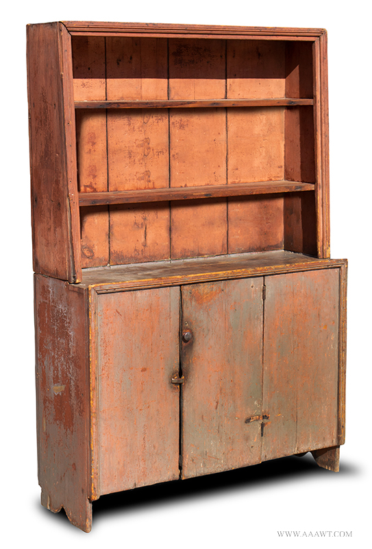 Cupboard, Canted Step-back, Open Top, Original Surface History New England, Circa 1800view-1_1256-30