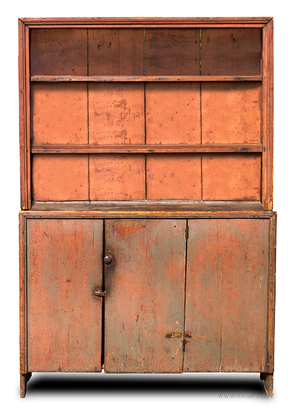 Cupboard, Canted Step-back, Open Top, Original Surface History New England,  Circa 1800 White Pine…nice small size and great surface - Antique Furniture_Cupboards, Built-in Cupboards, Hanging Cupboards