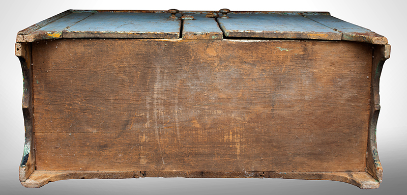 Antique, Canted Step Back Cupboard, Blue Paint New England, circa 1810 Pine, robust turned maple door pulls, bottom view