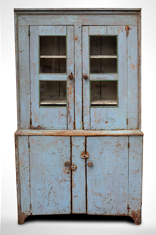 Antique, Canted Step Back Cupboard, Blue Paint New England, circa 1810 Pine, robust turned maple door pulls, entire view 1