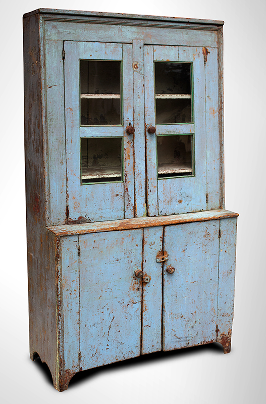 Antique, Canted Step Back Cupboard, Blue Paint New England, circa 1810 Pine, robust turned maple door pulls, entire view 2