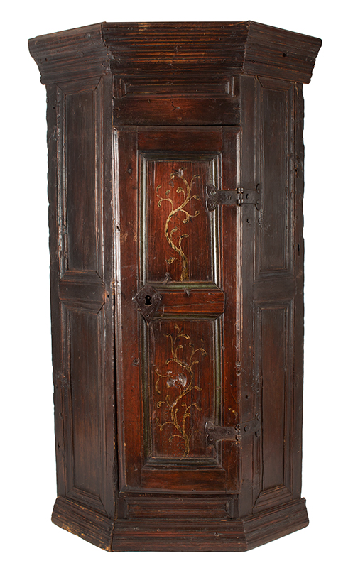 Antique Hanging Corner Cupboard, Paneled & Molded, Great Color & Patina England, Circa 1670 Pine, original surface and hardware, paint decorated door, rich patina and color, entire view 1