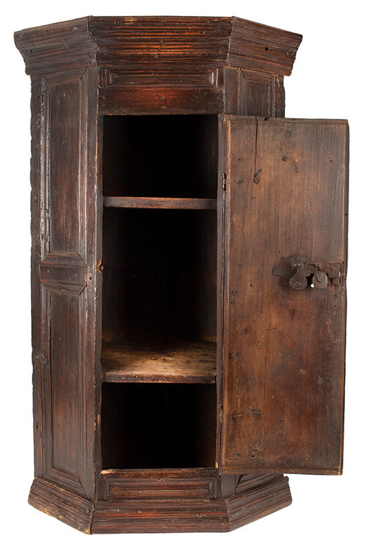 Antique Hanging Corner Cupboard, Paneled & Molded, Great Color & Patina England, Circa 1670 Pine, original surface and hardware, paint decorated door, rich patina and color, entire view 2