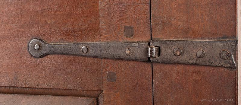 Cupboard-Hanging, Flared & Stepped Cornice, Paneled Door, Molded Base Pennsylvania, circa 1800, hinge detail