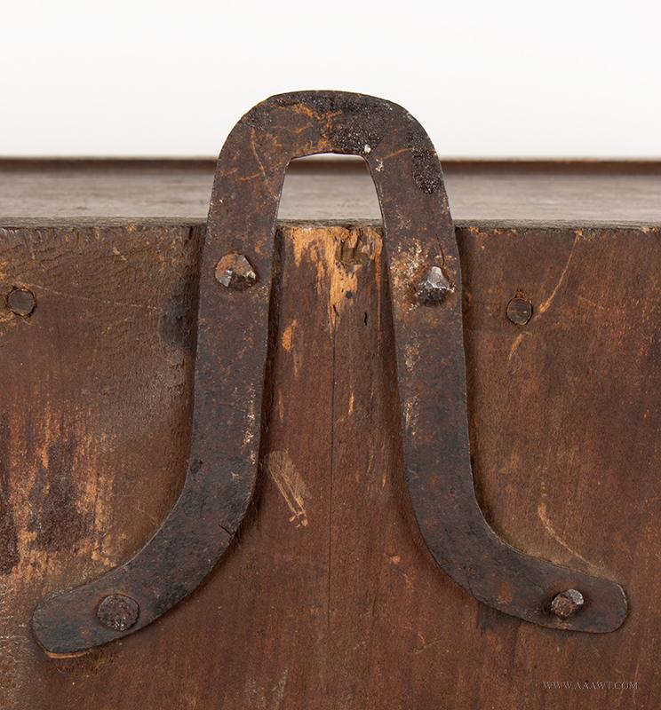 Cupboard-Hanging, Flared & Stepped Cornice, Paneled Door, Molded Base Pennsylvania, circa 1800, hanger detail