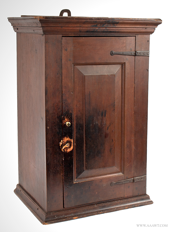 Cupboard-Hanging, Flared & Stepped Cornice, Paneled Door, Molded Base Pennsylvania, circa 1800, angle view