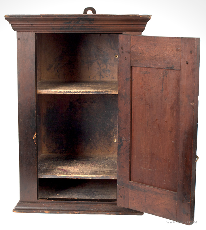 Cupboard-Hanging, Flared & Stepped Cornice, Paneled Door, Molded Base Pennsylvania, circa 1800, open view