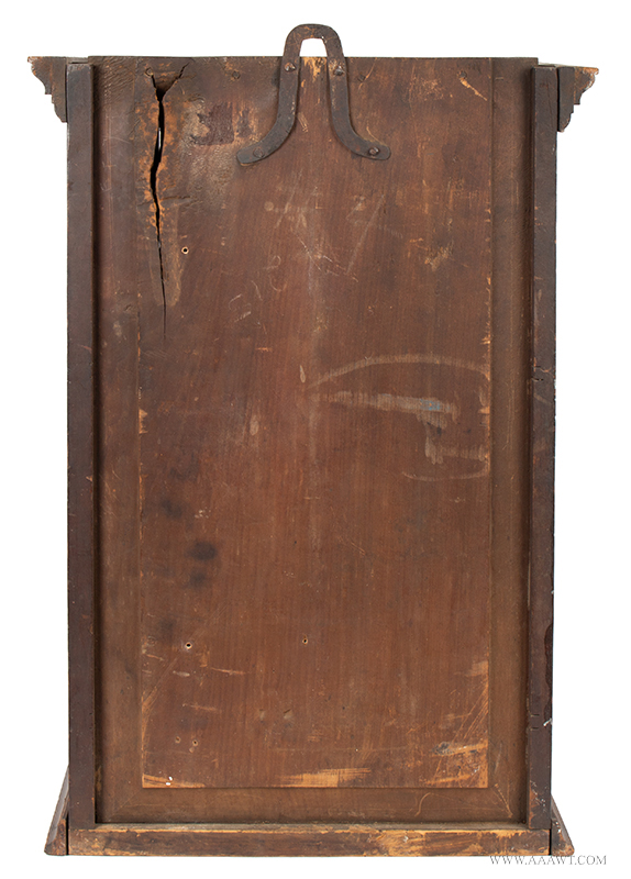 Cupboard-Hanging, Flared & Stepped Cornice, Paneled Door, Molded Base Pennsylvania, circa 1800, back view