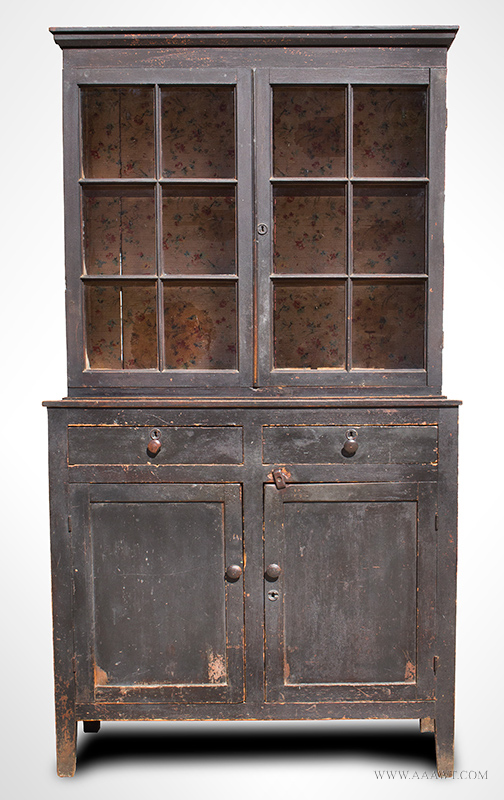 Step-Back Glazed Cupboard, North Carolina, Original Paint, Wallpapered Interiorview-1_1001-68