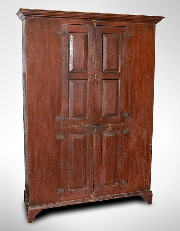 18th Century Raised Panel Wall Cupboard, Original Condition, EX Roger Bacon Massachusetts or New Hampshire, circa 1750-1780  Eastern white pine and red pine, original red surface…, entire view 1