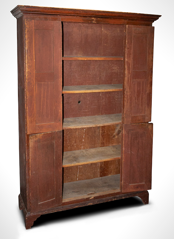 18th Century Raised Panel Wall Cupboard, Original Condition, EX Roger Bacon Massachusetts or New Hampshire, circa 1750-1780  Eastern white pine and red pine, original red surface…, entire view 2