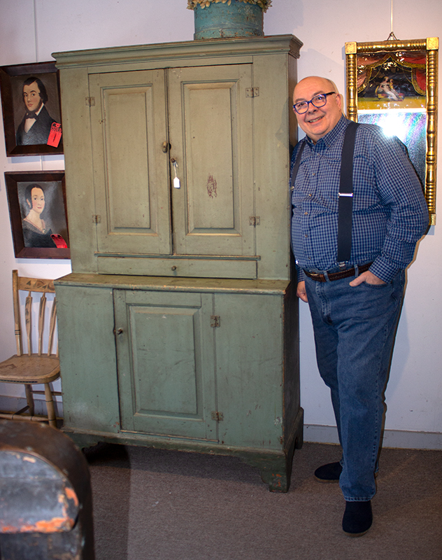 Antique Step-back Cupboard in Historic Surface, Raised Panel Doors, Small Size New England, Likely Maine or New Hampshire, circa 1780-1820 Basswood, very early sage green paint over gray over red, scale view