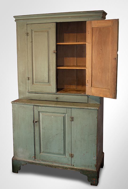 Antique Step-back Cupboard in Historic Surface, Raised Panel Doors, Small Size New England, Likely Maine or New Hampshire, circa 1780-1820 Basswood, very early sage green paint over gray over red, entire view 2