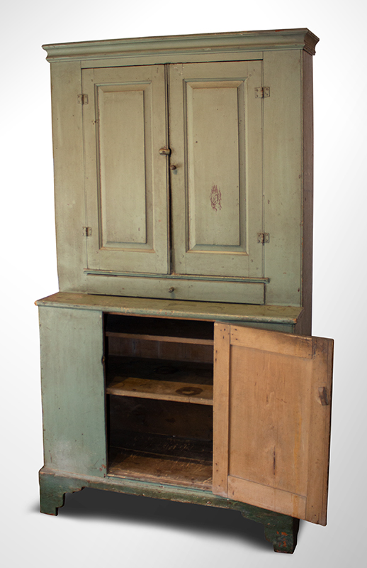 Antique Step-back Cupboard in Historic Surface, Raised Panel Doors, Small Size New England, Likely Maine or New Hampshire, circa 1780-1820 Basswood, very early sage green paint over gray over red, entire view 3