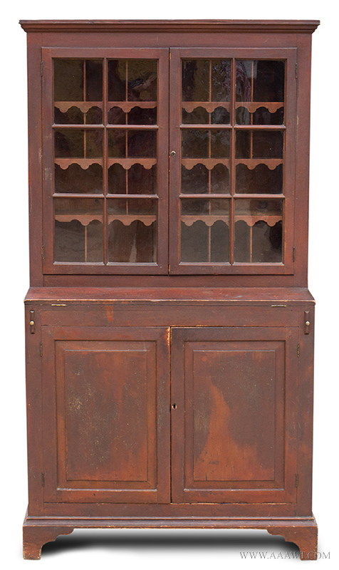 Cupboard-Wall; Chippendale, Pine, Red Wash, Step-Back, Glazed Doors,