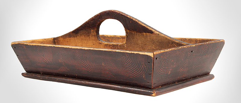 Cutlery Tray, Knife Box, Paint Decorated, Original Paint, Pierced Handle American, 19th Century