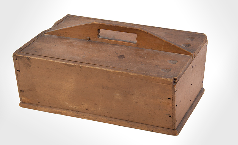 Antique Double Slide Lid Cutlery Box, Original Paint New England, Very Early 19th Century Poplar Possibly Enfield, New Hampshire SHAKER, entire view 1
