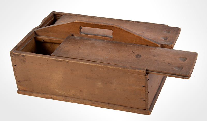 Antique Double Slide Lid Cutlery Box, Original Paint New England, Very Early 19th Century Poplar Possibly Enfield, New Hampshire SHAKER, entire view 2