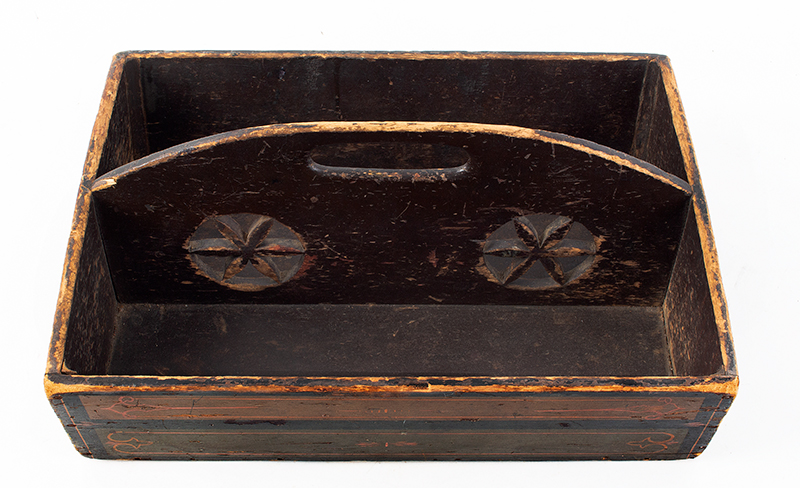Antique, Cutlery Tray, Pieced Hex Rosettes, Paint Decorated Pennsylvania, 19th Century Poplar, entire view 3