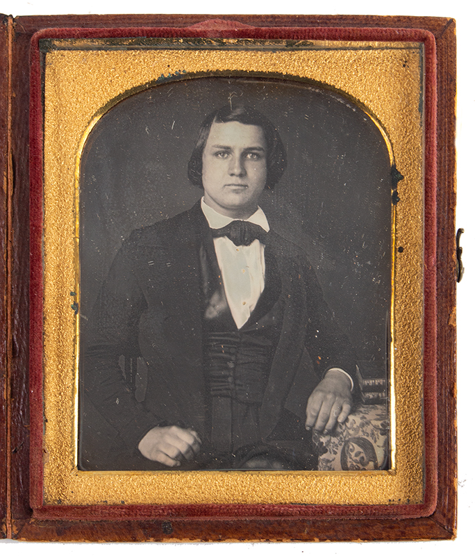 Daguerreotype, Sixth Plate, Young Man Seated at Table with Books Identified as F.M. Conrad, Waterford, Loudoun, Co., VA  1847 Anonymous, 1840s, entire view