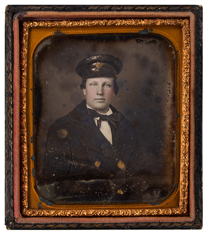 Daguerreotype, Navy Midshipman, Sixth Plate, Tinted & Gilt Anonymous, 19th Century, entire view