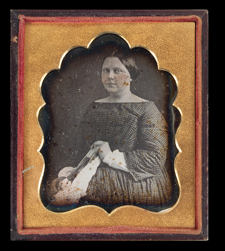 Daguerreotype, Woman Holding Fan, Sixth Plate Anonymous, 19th Century, entire view