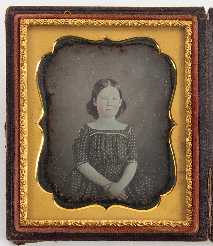 Daguerreotype, Sixth Plate,  Young Girl in Polka Dot Dress,  Unbroken Seal, Leather Case Anonymous, circa 1840-1860, entire view