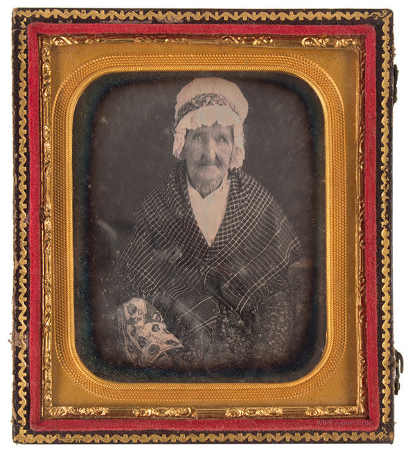 Daguerreotype of Very Old Woman, Aunt Sally Leet, New London, CT, 1/6th Plate, entire view
