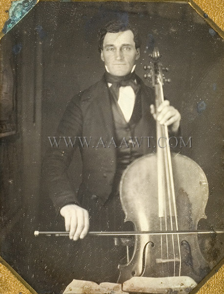 Daguerreotype, Man with Cello and Bow, Rare Subject Quarter Plate, sans frame