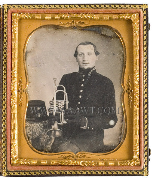 Daguerreotype, Militia Musician with Coronet Sixth Plate, entire view