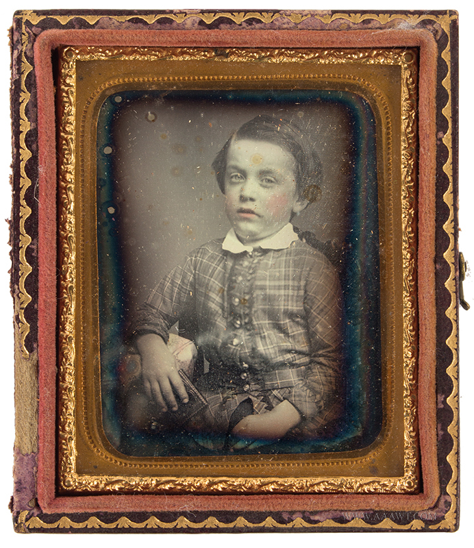 Daguerreotype, Ninth Plate, Young Boy Holding Dag Case, Unbroken Seal, Tinted Anonymous, circa 1840-1860 Lips and cheeks tinted pink…, entire view