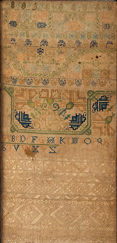 17th Century Band Sampler, England, Dated 1660, detail view 1