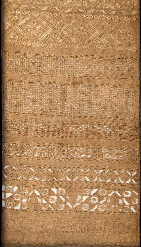 17th Century Band Sampler, England, Dated 1660, detail view 2