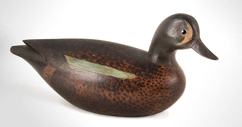 Collectible and Outstanding Mark McNail Blue Wing Hollow Body Teal Decoy Mark S. McNair (b. 1950) Craddockville, Virginia, Incised, Signed and Dated 1977, angle view 1