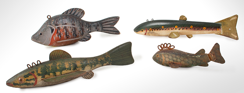 Vintage Ice Fishing Decoys, Spear Fishing Lures, Collection of Four Anonymous, Likely Great Lakes, group view
