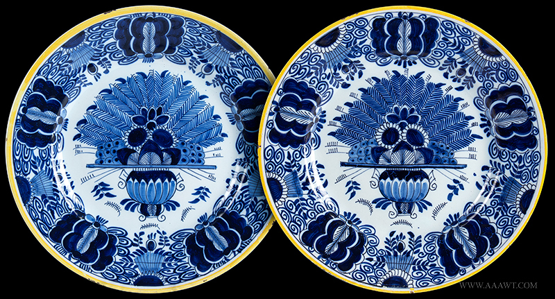 Dutch Delft Peacock Pattern Dishes, Pair, Yellow Enameled Rims, Blue Decoration Holland, Mid-18th Century, entire view